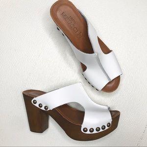 Sesto Meucci White Platform Leather Sandals/Heels